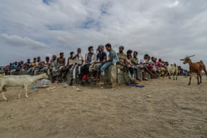 East African migrants sit on a wall as they wait for health checks at Ras Al-Ara in Lahj, Yemen, November 2020