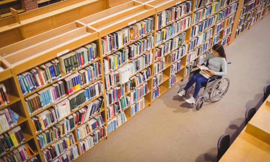 Disabled student in a library