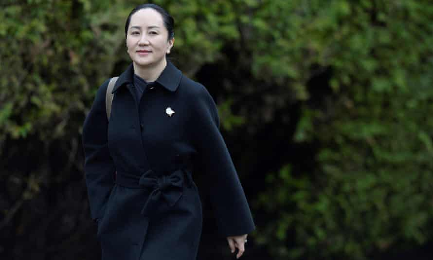 Huawei CFO Meng Wanzhou leaves her home to attend her January extradition hearing in Vancouver.