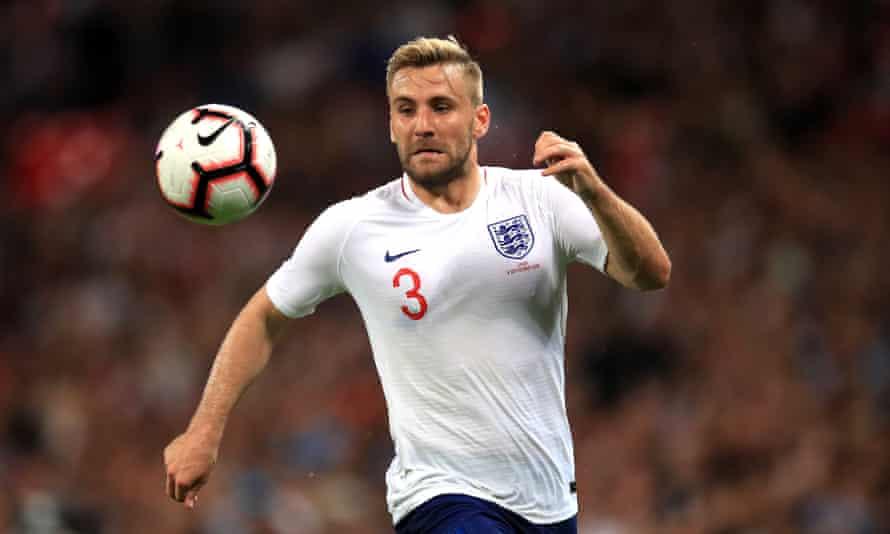 Luke Shaw in action for England against Spain in September 2018