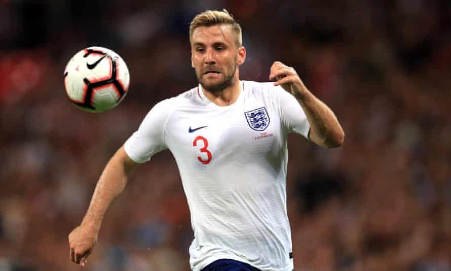 Luke Shaw playing for England against Spain in September 2018