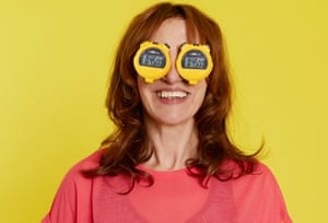 Zoe Williams photographed with stop clocks on her eyes