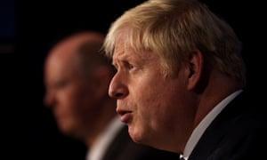 England's chief medical officer Chris Whitty (left), alongside prime minister Boris Johnson.