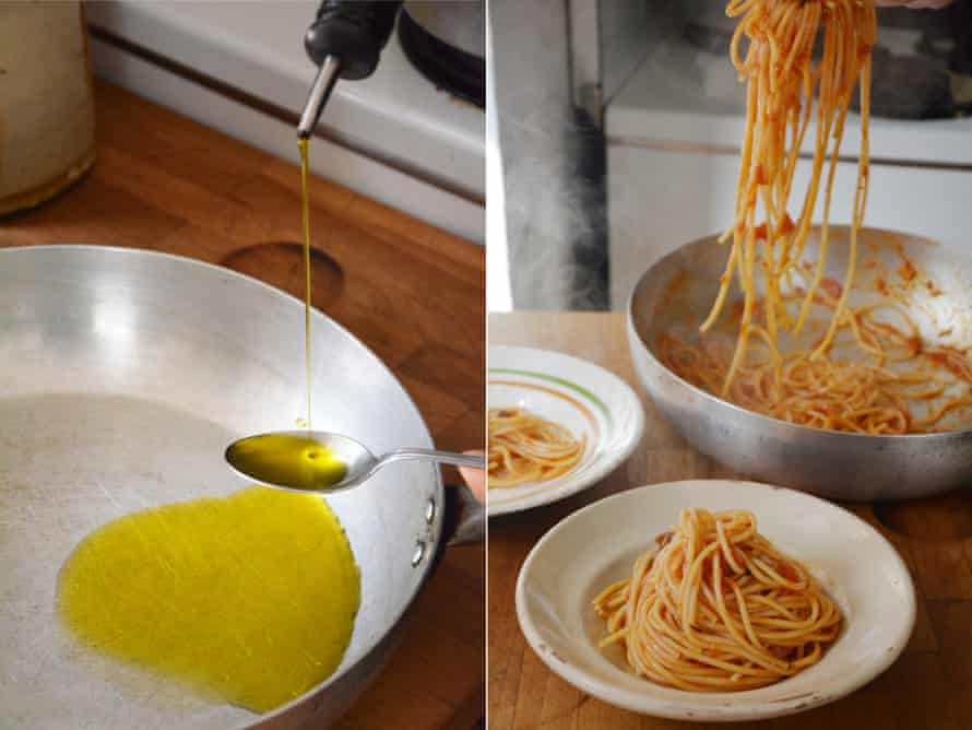 Rachel Roddy's olive oil with spaghetti, tomato and anchovy.