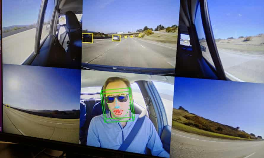 Images from Copilot's cameras monitoring the road and other drivers as well as the driver in the automated car.
