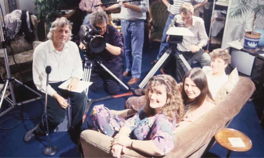 Michael Apted, left, filming 28 Up – 1984, with, facing, subjects Jackie, Lynn and Sue. He regretted selecting only four women out of 14 for the series.