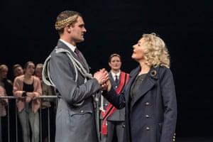 Tom Bateman (Coriolanus) and Stella Gonet (Volumnia) at the Crucible, Sheffield, in 2020.