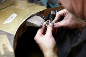 Shaping the ring on a mandrel.