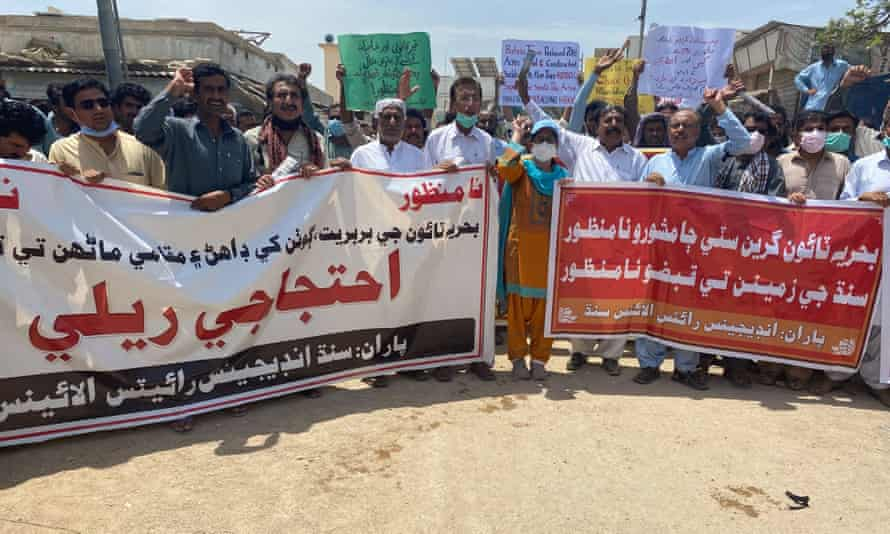 Villagers rally to protest against Bahria Town Karachi development.