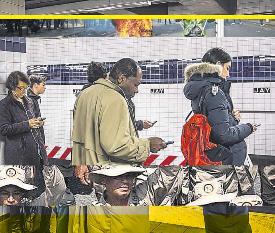 news overload: people on smartphones