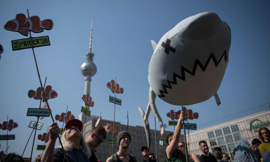 Demonstrators in Alexanderplatz, Berlin, protesting against rising rents and a tightening housing market.