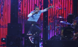 Chris Martin performing with the Chainsmokers at the Brit awards.