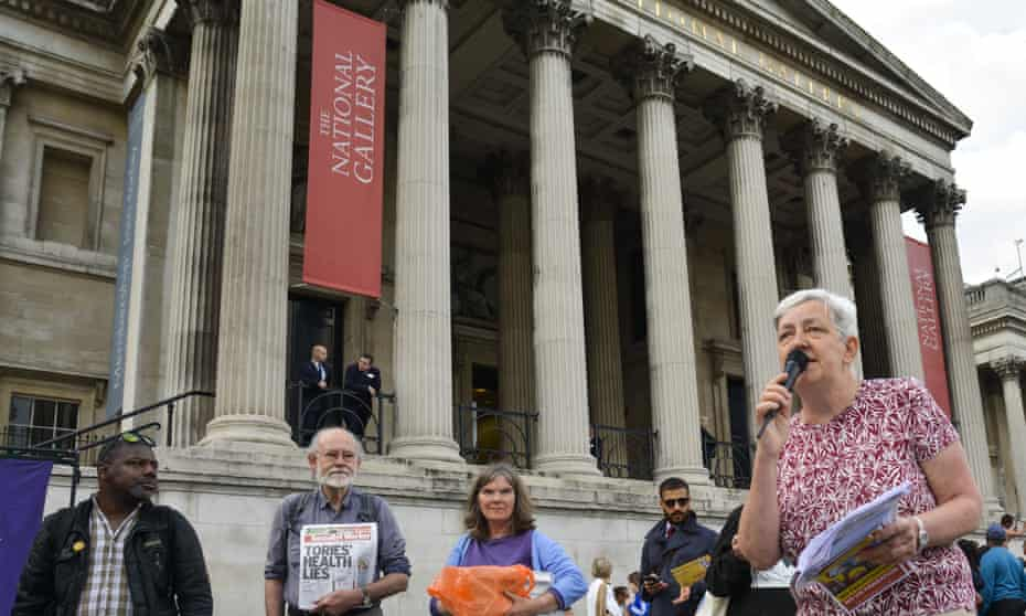 National Gallery workers and PCS union members gather outside the gallery in protest