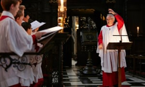 Sir Stephen Cleobury rehearses the King's College choir for the Festival of Nine Lessons and Carols.