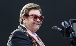 Elton John on stage during his performance in Auckland