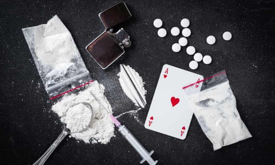Hard drugs on table