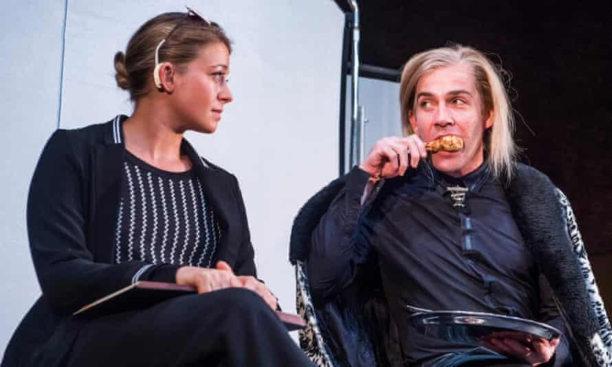 Genevieve Barr as Eva with Jonjo O'Neill as the Brute in Unreachable at the Royal Court.