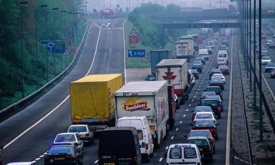 A traffic jam on the M6 motorway in Birmingham, England.