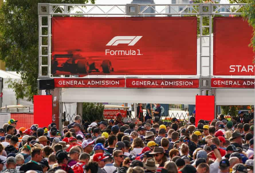 Spectators queue at the gate to gain entry ahead of the Formula 1 Australian Grand Prix 2020 at the the Albert Park Circuit in Melbourne.
