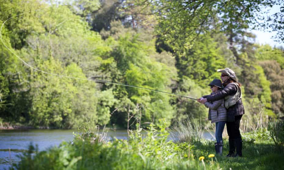 Ashford Castle, Cong, County Mayo. Annalisa Barbieri goes fishing with her daughter, Rafaella. Photo by Patrick Bolger Commissioned for Family
