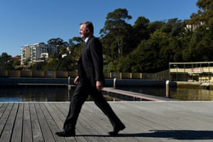 Shadow minister for transport and infrastructure, Anthony Albanese, walks along the boardwalk during a visit to Dawn Fraser Baths in his electorate of Grayndler.