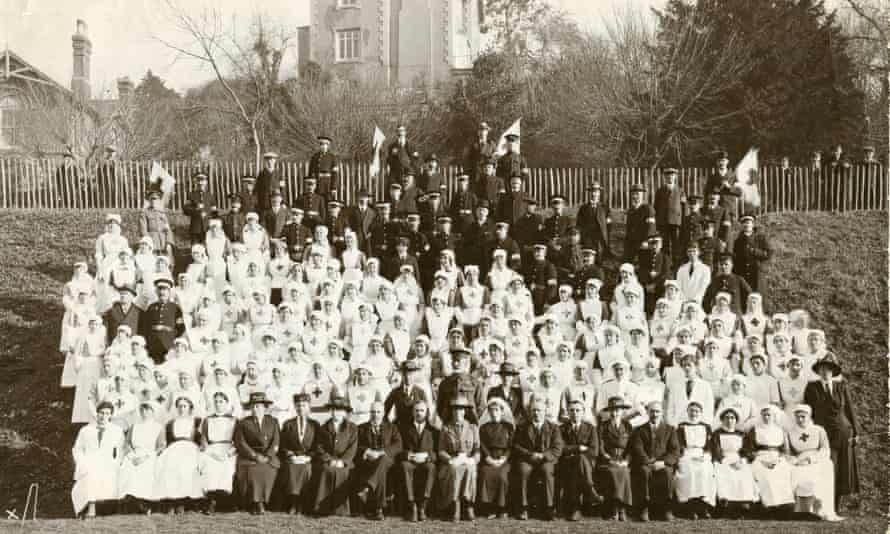 A group photograph of staff at the Town Hall hospital in Torquay where Agatha Christie worked for the majority of the war.