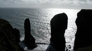 The Elegug Stacks, with the cairn clearly visible.