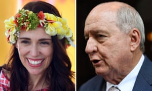 Alan Jones (right) said Scott Morrison should 'shove a sock down the throat' of New Zealand's PM, Jacinda Ardern.
