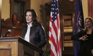 Governor Gretchen Whitmer addresses the state in Lansing on Thursday.