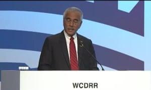Anote Tong, president of Kiribati, at the UN disaster risk conference in Sendai, Japan.