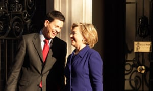 The then US secretary of state Hillary Clinton shares a joke with then British foreign secretary David Miliband in Downing Street in 2009.