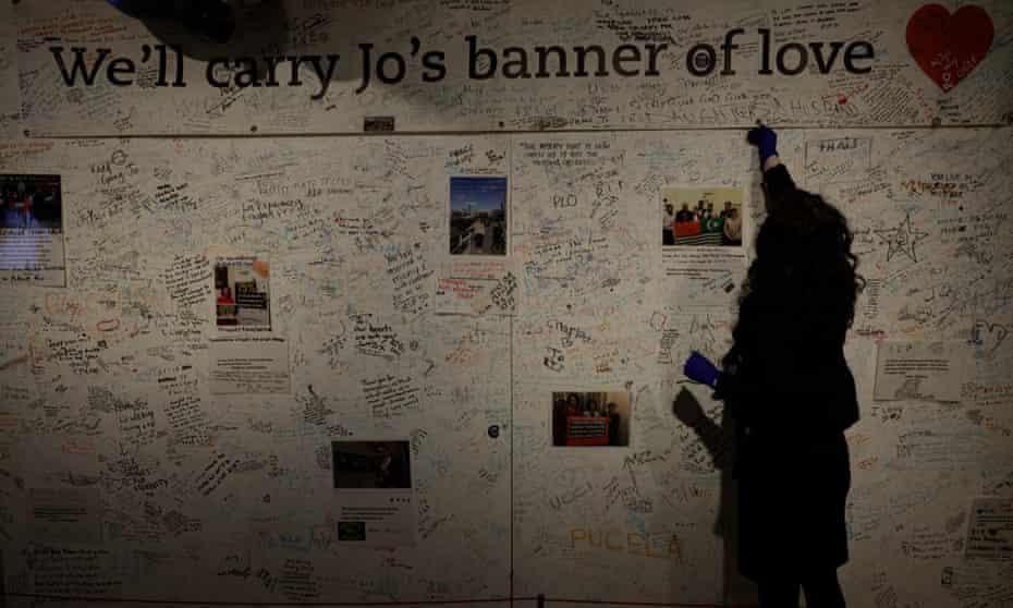 The memorial wall for the murdered MP Jo Cox at the People's History Museum in Manchester.