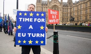 A Brexit protester outside the Houses of Parliament.