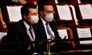 Pete Buttigieg and his husband, Chasten, attend the vice-presidential debate in Utah