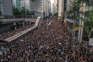 Protesters demonstrate against the extradition bill on June 16, 2019 in Hong Kong. Large numbers of protesters rallied on Sunday despite an announcement by Hong Kong's Chief Executive Carrie Lam that the controversial extradition bill would be suspended indefinitely.