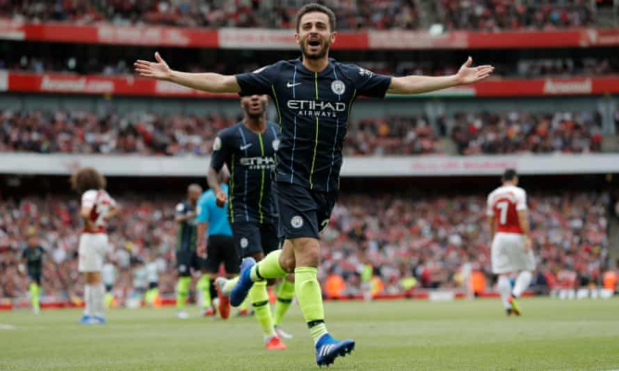Bernardo Silva celebrates after scoring with an excellent first-time shot to secure victory for Manchester City over Arsenal at the Emirates Stadium.