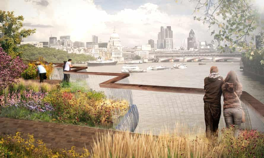 A visualisation of the proposed garden bridge from Temple to the South Bank in London.