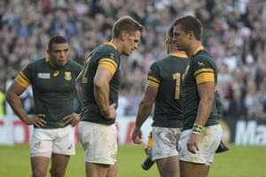 South Africa's captain and centre Jean de Villiers reacts after losing the match. This was the most experienced Bok side in history, sprinkled with World Cup winners. South Africa had never lost an opening game in a World Cup, averaging 44 points in the process