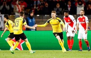 Reus gets one back for Dortmund.