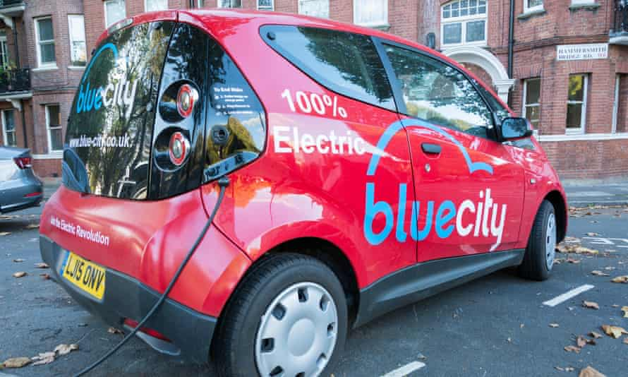 More power to the clubs … a Blue City electric car at a charging point in Hammersmith, west London.