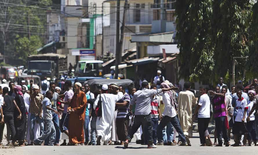 Young people gather after Friday prayers in Majengo.