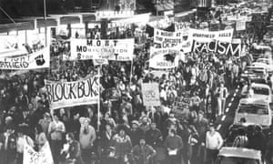 Anti-apartheid demonstrators march through Auckland to protest the tour of South Africa's Springbok rugby union team in July 1981.