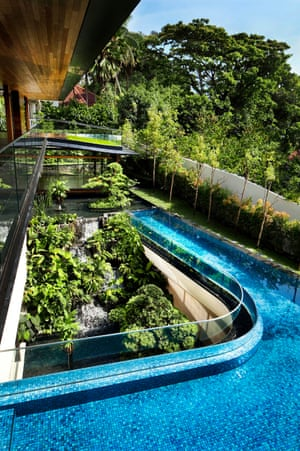 The Singapore home sports a cascading waterfall.