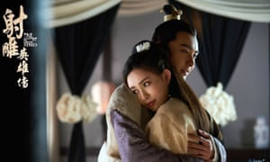 The Legends of the Condor Heroes series follows young soldier Guo Jing, depicted in a Chinese TV adaptation.
