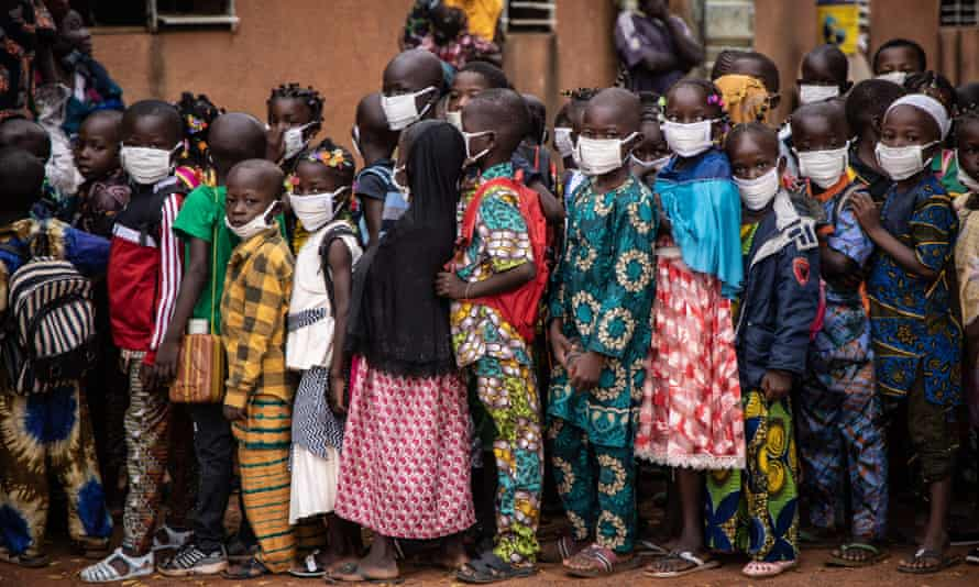 Pupils on the first day of school in Ouagadougou, Burkina Faso, on October 1, 2020.