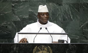 Gambian's president, Yahya Jammeh, addressing the UN general assembly in 2014.