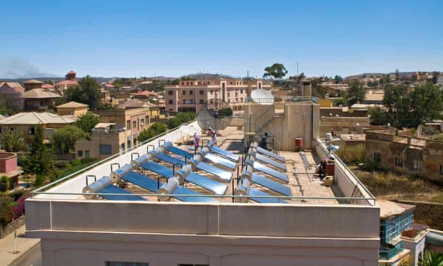 Solar panels on a roof in Asmara, Eritrea