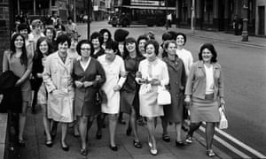 Women workers from the Ford plant in Halewood wait to enter the Liverpool office of the Transport and General Workers Union for a mass meeting in June 1968.
