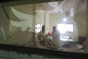 A view of a broken glass at the hospital following a bomb blast.