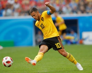 Eden Hazard passes the ball during Belgium's World Cup third-place play-off victory over England.